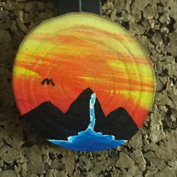 Hand painted sunset magnet handcrafted